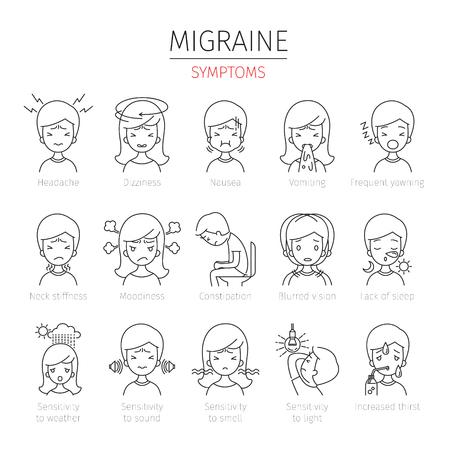 片頭痛の症状の概要アイコン設定、頭、脳、内臓、体、物理、病気、解剖学、健康  イラスト・ベクター素材