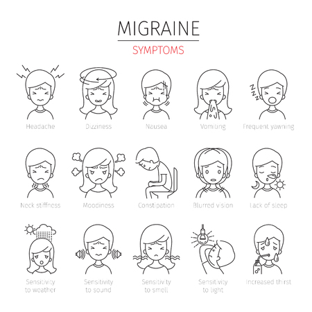 Migraine Symptoms Outline Icons Set, Head, Brain, Internal Organs, Body, Physical, Sickness, Anatomy, Health