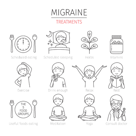 Migraine Treatment Outline Icons Set, Head, Brain, Internal Organs, Body, Physical, Sickness, Anatomy, Health Фото со стока - 80399907