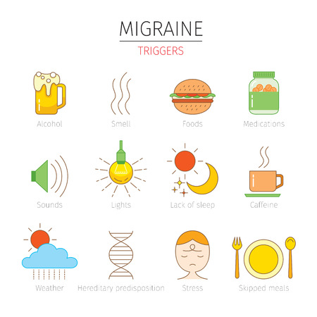 triggers: Migraine Triggers Icons Set, Head, Brain, Internal Organs, Body, Physical, Sickness, Anatomy, Health