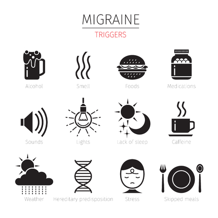 triggers: Migraine Triggers Icons Set, Monochrome, Head, Brain, Internal Organs, Body, Physical, Sickness, Anatomy, Health