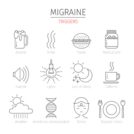 triggers: Migraine Triggers Outline Icons Set, Head, Brain, Internal Organs, Body, Physical, Sickness, Anatomy, Health Illustration