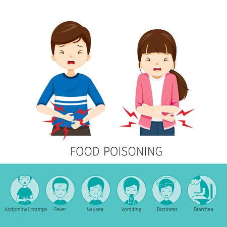 Boy And Girl Stomachache Porque Intoxicación Alimentaria, Estómago, Órganos Internos, Cuerpo, Físico, Enfermedad, Anatomía, Salud