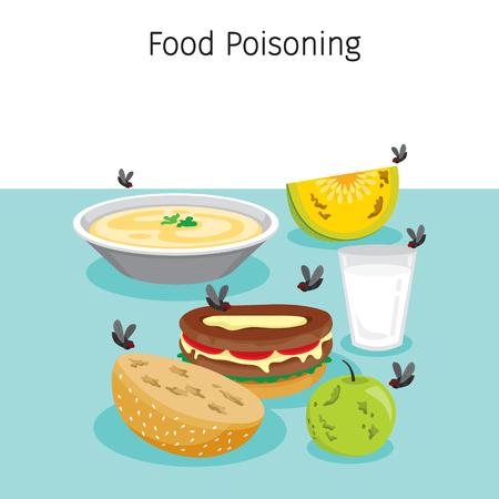 Molte mosche che volano intorno a cibo, bevande e frutta, stomaco, organi interni, corpo, fisico, malattia, anatomia, salute Vettoriali