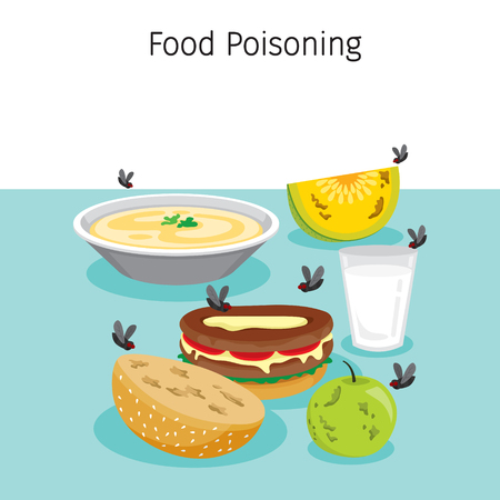 Viele Fliegen fliegen um Essen, Trinken und Früchte, Magen, innere Organe, Körper, Körperlich, Krankheit, Anatomie, Gesundheit Vektorgrafik