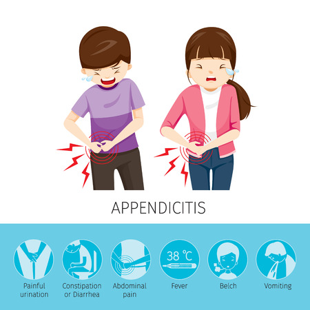 cecum: Boy And Girl Stomachache Because To Appendicitis, Appendix, Internal Organs, Body, Physical, Sickness, Anatomy, Health