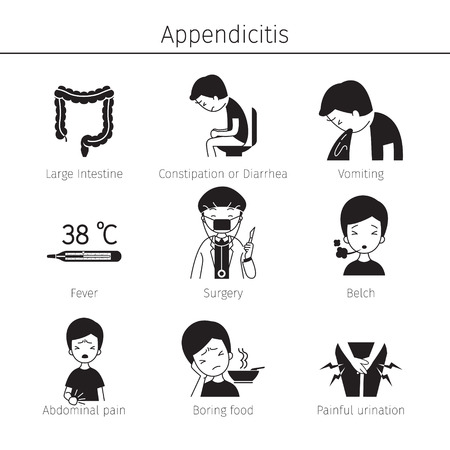 Appendicitis Symptoms Icons Set, Monochrome, Appendix, Internal Organs, Body, Physical, Sickness, Anatomy, Health Stock Vector - 80399984