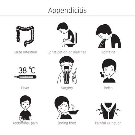 Appendicitis Symptoms Icons Set, Monochrome, Appendix, Internal Organs, Body, Physical, Sickness, Anatomy, Health
