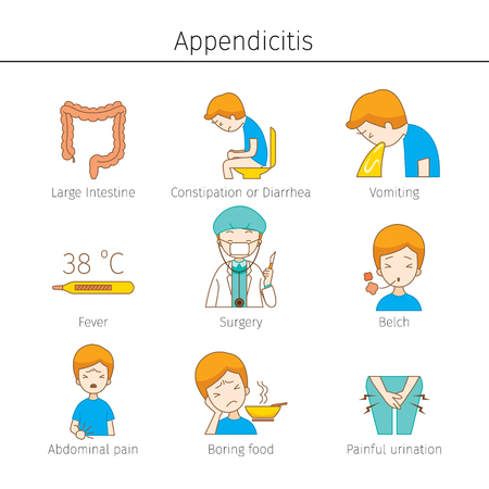Appendicitis Symptoms Outline Icons Set, Appendix, Internal Organs, Body, Physical, Sickness, Anatomy, Health Stock Illustratie