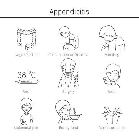cecum: Appendicitis Symptoms Icons Set, Appendix, Internal Organs, Body, Physical, Sickness, Anatomy, Health