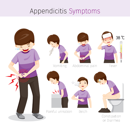 cecum: Man With Appendicitis Symptoms, Appendix, Internal Organs, Body, Physical, Sickness, Anatomy, Health Illustration