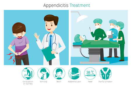 Doctor Diagnose And Operate On Appendicitis Patient, Appendix, Internal Organs, Body, Physical, Sickness, Anatomy, Health Stock Vector - 80400005