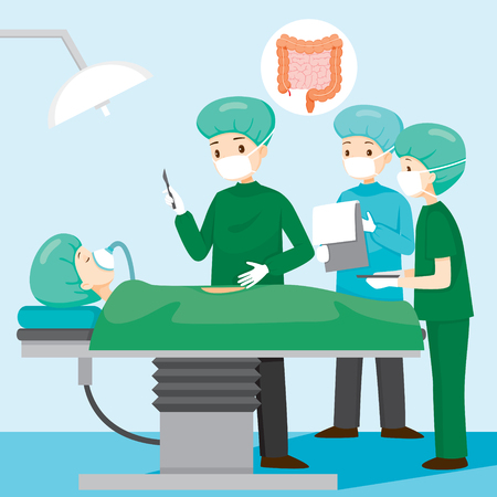 Surgeon Operate On Appendicitis Patient, Appendix, Internal Organs, Body, Physical, Sickness, Anatomy, Health 일러스트