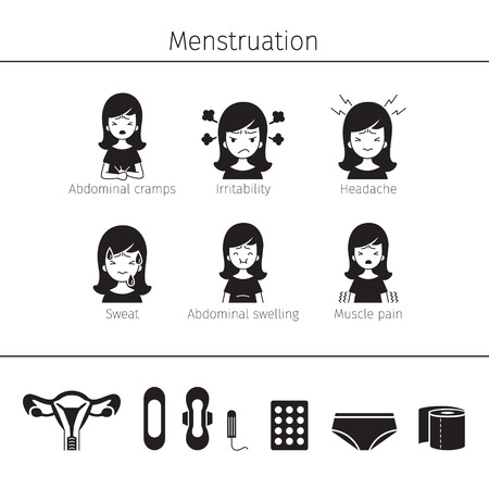 Menstruación Síntoma, conjunto de iconos, monocromo, mujer, órganos internos, cuerpo, física, anatomía, salud Ilustración de vector