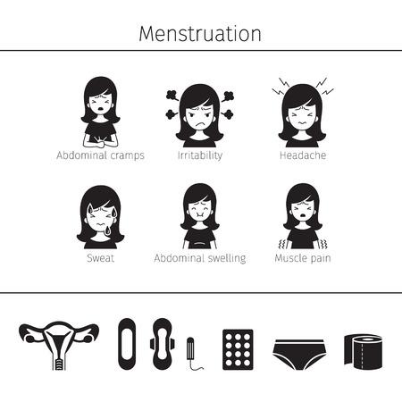 Menstruation Symptom, Icons Set, Monochrome, Female, Internal Organs, Body, Physical, Anatomy, Health Stock Vector - 80399994
