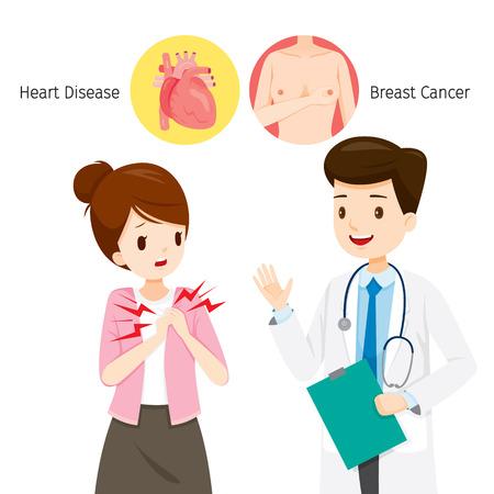 女性は、彼女の胸の痛み、心臓病や乳がん、乳腺については医師、豊胸手術、身体、臓器、身体、病気、健康を参照してください。