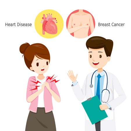 Woman See Doctor About Her Chest Pain, Heart Disease Or Breast Cancer, Mammary, Boob, Body, Organs, Physical, Sickness, Health