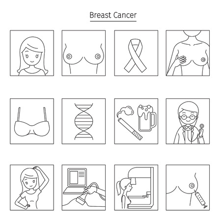 Breast Cancer Outline Icons Set, Mammary, Boob, Body, Organs, Physical, Sickness, Health