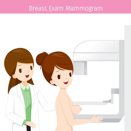 Female, arts, controleren, vrouw, patiënt, borst, met, Mammogram, Mammary, Boob, lichaam, organen, lichamelijk, ziekte, gezondheid Stock Illustratie