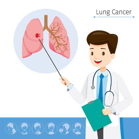 医師が肺がん、生理、病気、医学専門職、形態、体、器官、健康の原因について説明します。