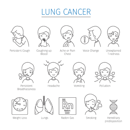 Lung Cancer Outline Icons Set, Physiology, Sickness, Medical Profession, Morphology, Body, Organs, Health