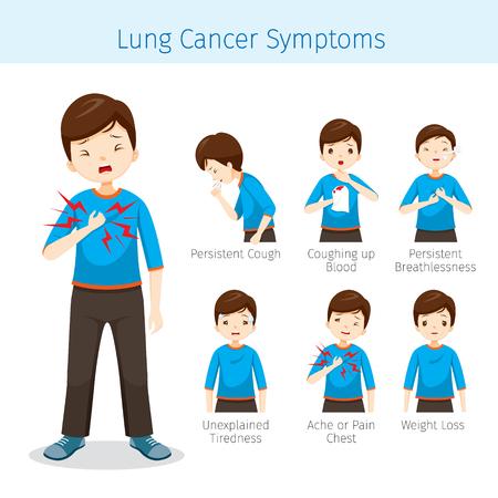 Mann mit Lungenkrebs-Symptomen, Physiologie, Krankheit, Arztberuf, Morphologie, Körper, Organe, Gesundheit Vektorgrafik