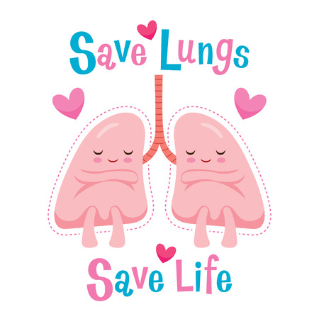 Save Lungs, Save Life, Cartoon Character, Human Internal Organ, Physiology, Sickness, Medical Profession, Morphology, Body, Organs, Health Illustration