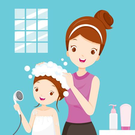 Moeder die dochter haar in badkamers, salon, kappers, kapsel, kapper, schoonheid wassen