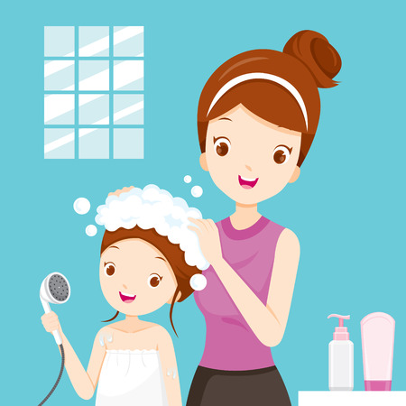 Mother Washing Daughter Hair In Bathroom, Salon, Hairdressing, Hairdo, Barber, Beauty Illustration