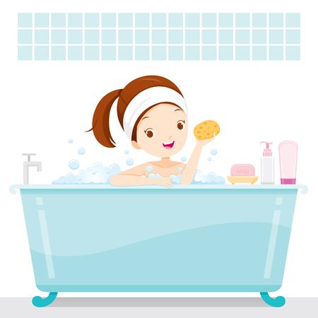 Cute Girl Bathing In Bathtub, In Bathroom, Body, Spa, Cleaning, Beauty, Cosmetic, Purity, Healthy, Skin Archivio Fotografico - 85121668