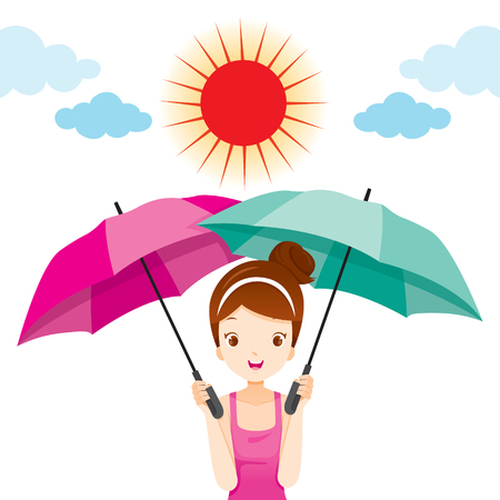 Girl Holding Two Umbrellas With Sun Light, Facial, Skin, Body, Protection, Beauty, Cosmetic, Makeup, Healthy, Vector Illustration
