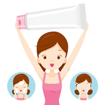 Girl Carrying Packaging And Cleaning Face, Facial, Beauty, Cosmetic, Makeup, Treatment, Healthy