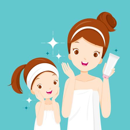 Mutter Und Tochter Glücklich Mit Sauberen Gesichtern, Gesichtsbehandlung, Schönheit, Kosmetik, Make-up, Gesund, Spa, Haut Standard-Bild - 85121679
