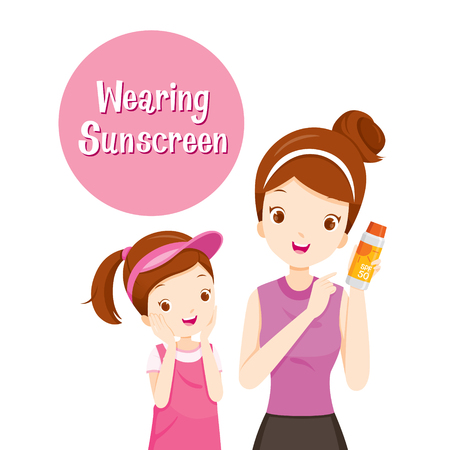 Mother Holding Sunscreen Packaging And Daughter Happy With It, Facial, Beauty, Cosmetic, Makeup, Healthy, Body, Protection, Skin