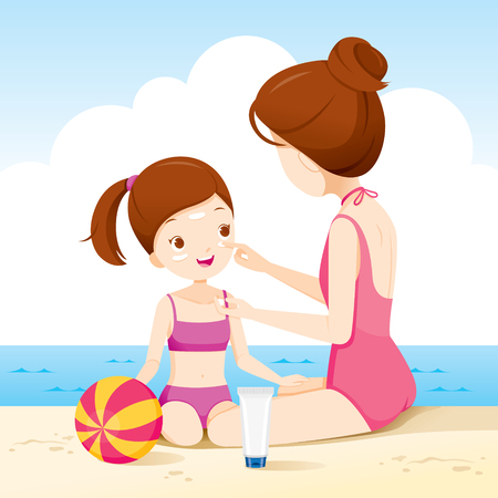Mother Wearing Sunscreen On Daughter Face On The Beach, Facial, Beauty, Cosmetic, Makeup, Healthy, Body, Protection, Skin