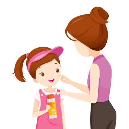 Mère Wearing Sunscreen On Daughter Face, Facial, Beauté, Cosmétique, Maquillage, Santé, Corps, Protection, Peau Vecteurs