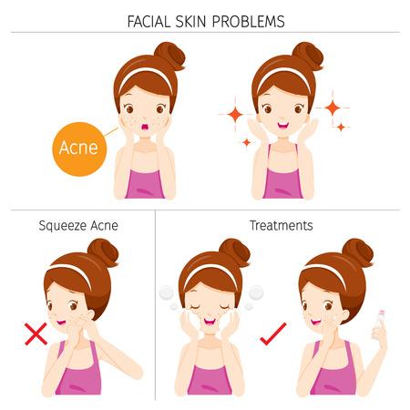 にきび、顔の皮膚の問題、治療、女の子顔、美容、化粧品、メイク、治療、健康  イラスト・ベクター素材