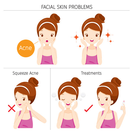 Girl With Acne, Facial Skin Problems And Treatment, Facial, Beauty, Cosmetic, Makeup, Treatment, Healthy