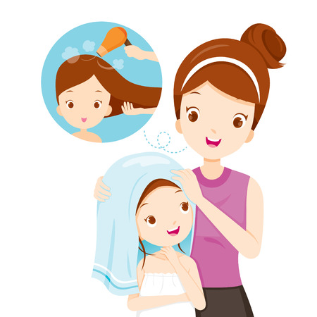 Mother Rub Daughter Hair With Towel, Salon, Hairdressing, Hairdo, Barber, Beauty