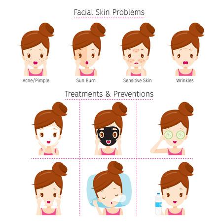 顔と治療と予防、方法上の問題を持つ少女顔、美容、化粧品、メイク、治療、健康  イラスト・ベクター素材