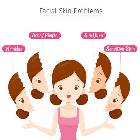 顔の皮問題、フェイシャル、美容、化粧品、メイク、治療、健康を持つ少女