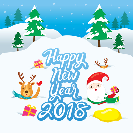 New year greeting card with Santa and reindeer design.