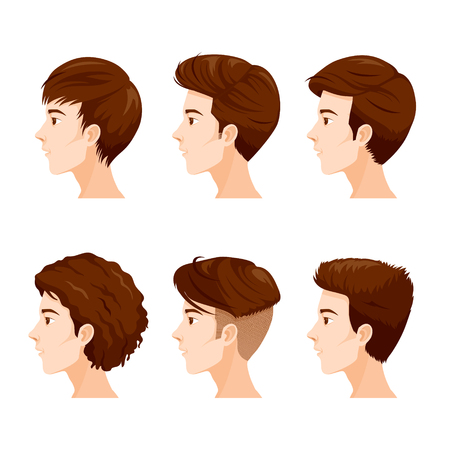 Man Faces With Different Hairstyles Set, Facial, Skin, Treatment, Beauty, Cosmetic, Makeup, Healthy, Lifestyle