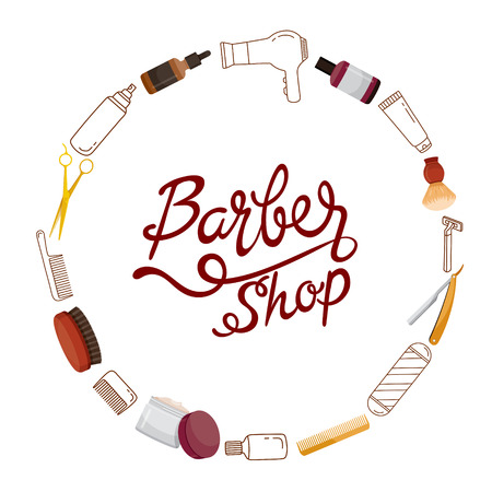 Barber Shop Accessories On Circle Frame And Lettering, Accessories, Equipment, Hairdressing, Shopping, Hair, Treatment, Beauty, Cosmetic.