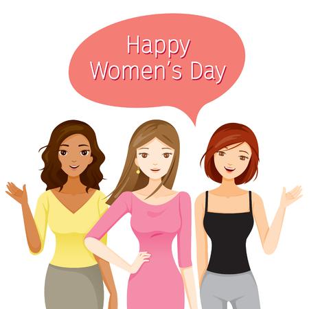 Internationale vrouwendag banner vrouwen met verschillende naties en huid, vectorillustratie.
