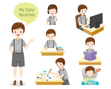 Le routine quotidiane di ragazzo, persone, attività, abitudine, stile di vita, tempo libero, hobby, vocazione Vettoriali