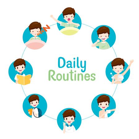 Les routines quotidiennes du garçon sur le graphique circulaire, les gens, les activités, l'habitude, le mode de vie, les loisirs, les loisirs, les loisirs
