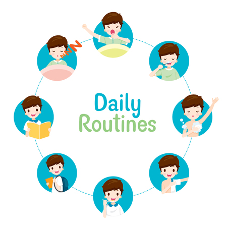 The Daily Routines Of Boy On Circle Chart, People, Activities, Habit, Lifestyle, Leisure, Hobby, Avocation