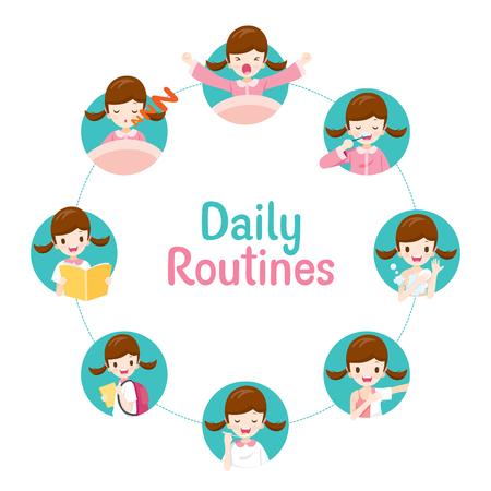 Las rutinas diarias de la niña en la tabla circular, personas, actividades, hábitos, estilo de vida, ocio, hobby, vocación