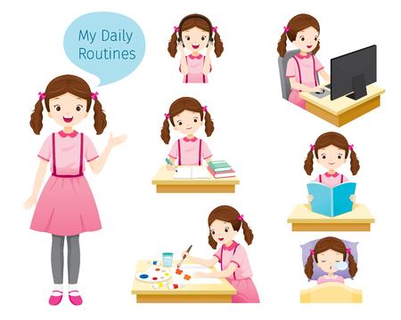 De dagelijkse routine van meisje, mensen, activiteiten, gewoonte, levensstijl, vrije tijd, hobby, avocation Stockfoto - 97768095